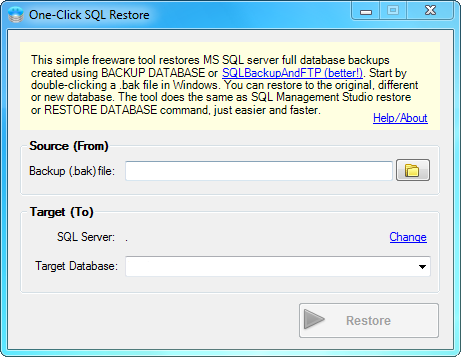 One-Click SQL Restore Screen shot